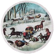 American Winter 1870 Round Beach Towel by Photo Researchers