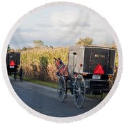 Amish Buggies October Road Round Beach Towel