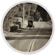 Amish Buggy - Lancaster County Pa Round Beach Towel