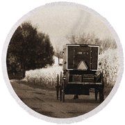 Amish Buggy And Wagon Round Beach Towel