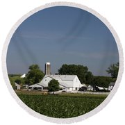 Amish Farm Round Beach Towel