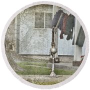 Amish Pump And Cup Round Beach Towel