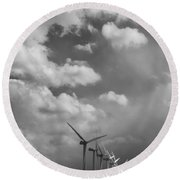 Amongst The Clouds Bw Round Beach Towel