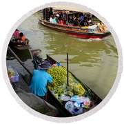 Ampawa Floating Market Round Beach Towel by Adrian Evans