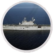 Amphibious Assault Ship Uss Peleliu Round Beach Towel