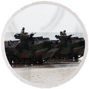 Amphibious Assault Vehicles Land Ashore Round Beach Towel