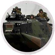 Amphibious Assault Vehicles Make Round Beach Towel