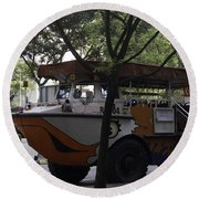 Amphibious Vehicle Used For Ducktour In Singapore Round Beach Towel