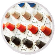 Amplifier Dials Round Beach Towel by Tom Gowanlock