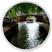 Amsterdam By Boat Round Beach Towel