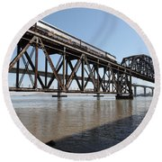 Amtrak Train Riding Atop The Benicia-martinez Train Bridge In California - 5d18829 Round Beach Towel