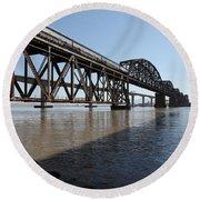 Amtrak Train Riding Atop The Benicia-martinez Train Bridge In California - 5d18830 Round Beach Towel