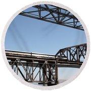 Amtrak Train Riding Atop The Benicia-martinez Train Bridge In California - 5d18835 Round Beach Towel