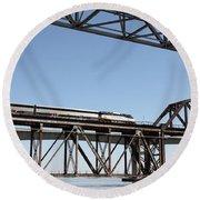 Amtrak Train Riding Atop The Benicia-martinez Train Bridge In California - 5d18837 Round Beach Towel