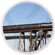 Amtrak Train Riding Atop The Benicia-martinez Train Bridge In California - 5d18839 Round Beach Towel