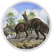 Amurosaurus Riabinini Dinosaurs Grazing Round Beach Towel