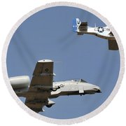 An A-10 Thunderbolt And A P-51 Mustang Round Beach Towel