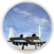 An A-10 Thunderbolt II Taxies Round Beach Towel by Stocktrek Images