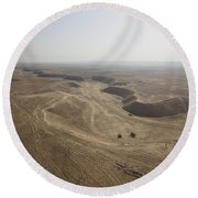 An Aerial View Of The Wadi Over Kunduz Round Beach Towel