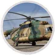An Afghan Air Force Mi-17 Helicopter Round Beach Towel