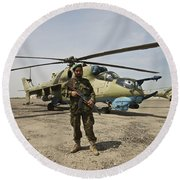 An Afghan Army Soldier Guards A Couple Round Beach Towel