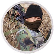 An Afghan Commando On Patrol Round Beach Towel by Stocktrek Images