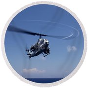An Ah-1 Cobra In Flight Round Beach Towel