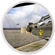 An Ah-64d Apache Helicopter Round Beach Towel