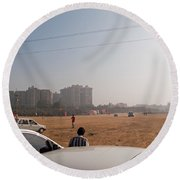 An Almost Empty Parking Lot At Surajkand Fair In India Round Beach Towel