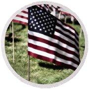 An American Flag Round Beach Towel