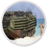 An Amphibious Assault Vehicle Is Guided Round Beach Towel