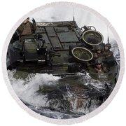 An Amphibious Assault Vehicle Round Beach Towel