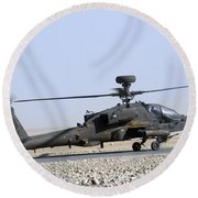 An Apache Helicopter Prepares Round Beach Towel