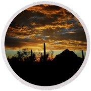 An Arizona Desert Sunset  Round Beach Towel