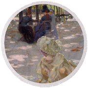An August Afternoon At The Luxembourg Round Beach Towel by Henri-edmond Cross