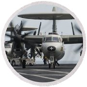 An E-2c Hawkeye Aircraft On The Flight Round Beach Towel