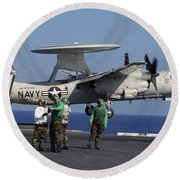 An  E-2c Hawkeye Launches From Aboard Round Beach Towel by Stocktrek Images