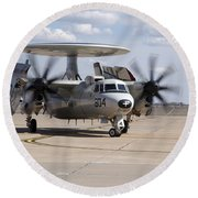 An E-2c Hawkeye On The Runway At Cannon Round Beach Towel