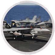 An Ea-18g Growler Lands Aboard Uss Round Beach Towel