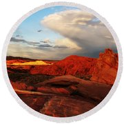 An Evening In The Valley Of Fire Round Beach Towel
