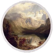 An Extensive Alpine Lake Landscape Round Beach Towel