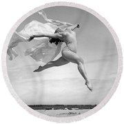 An Exuberant Dance To Spring Round Beach Towel