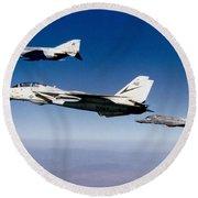 An F-14 Tomcat And Two F-4 Phantom IIs Round Beach Towel