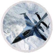An F-16 Aggressor Sits In Contact Round Beach Towel