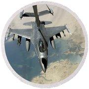 An F-16 Fighting Falcon Refuels Round Beach Towel