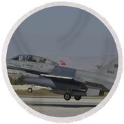 An F-16b Of The Pakistan Air Force Round Beach Towel