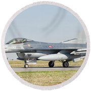 An F-16c Block 50 Of The Turkish Air Round Beach Towel