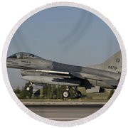 An  F-16c Of The Pakistan Air Force Round Beach Towel