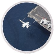 An Fa-18 Hornet Flys Over Aircraft Round Beach Towel