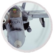 An Fa-18 Super Hornet Receives Fuel Round Beach Towel